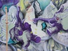 Graffiti lila Elefanten